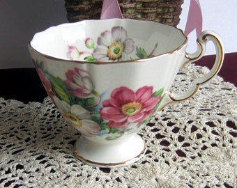 Adderley H660 with Pink and White Flowers Bone China Tea Cup Only - Made in England