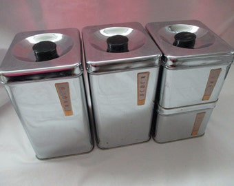 Vintage, Lincoln Beautyware, Chrome Canisters with Gold Plaques, Set of 4 with Lids, Flour, Sugar, Coffee, Tea. 1960's