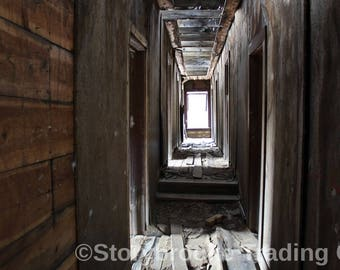 HALLWAY OF TIME 1880's Abandoned Boarding House Hallway Hotel Rooms Wooden Grime Decay Travel Time Digital Print it Your Way Art
