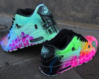 "Custom Nike Air Max 90 Funky Galaxy Colours Graffiti Airbrush Sneaker Art ""UNIKAT"" Shoes"