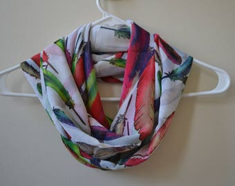 Ecru Chiffon Infinity Scarf with Colorful Bird Feather Print, Red Green Pink Blue, Summer Fashion, Women Accessories, Spring, Summer, Fall