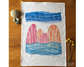 SALE | Where the hills meet the sea - Pink Tea Towel | Kitchen | colourful | Limited Edition | Landscape | Illustration | pink