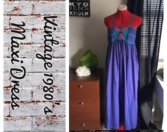 Adorable vintage cotton 1980's maxi dress- Amazing condition!