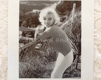 Marilyn Monroe Book Plate Photo Art Print Vintage Lithograph Hollywood Memorabilia Publicity Norma Jeane 1980s Black White B&W Champagne 2