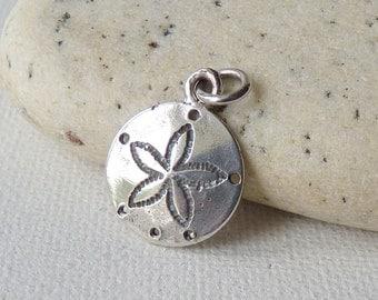 Sterling Silver Sand Dollar Pendant Vintage Beach Jewelry Aquatic Charm/Pendant Minimalist Jewelry Vintage Summer Charm,Round Beach Charm