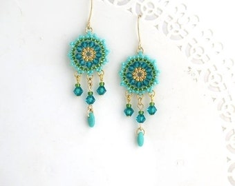 Turquoise earring, Gift for wife, Turquoise gold earring, Boho dangle earring, Beaded dangle earring, Turquoise chandelier earrings