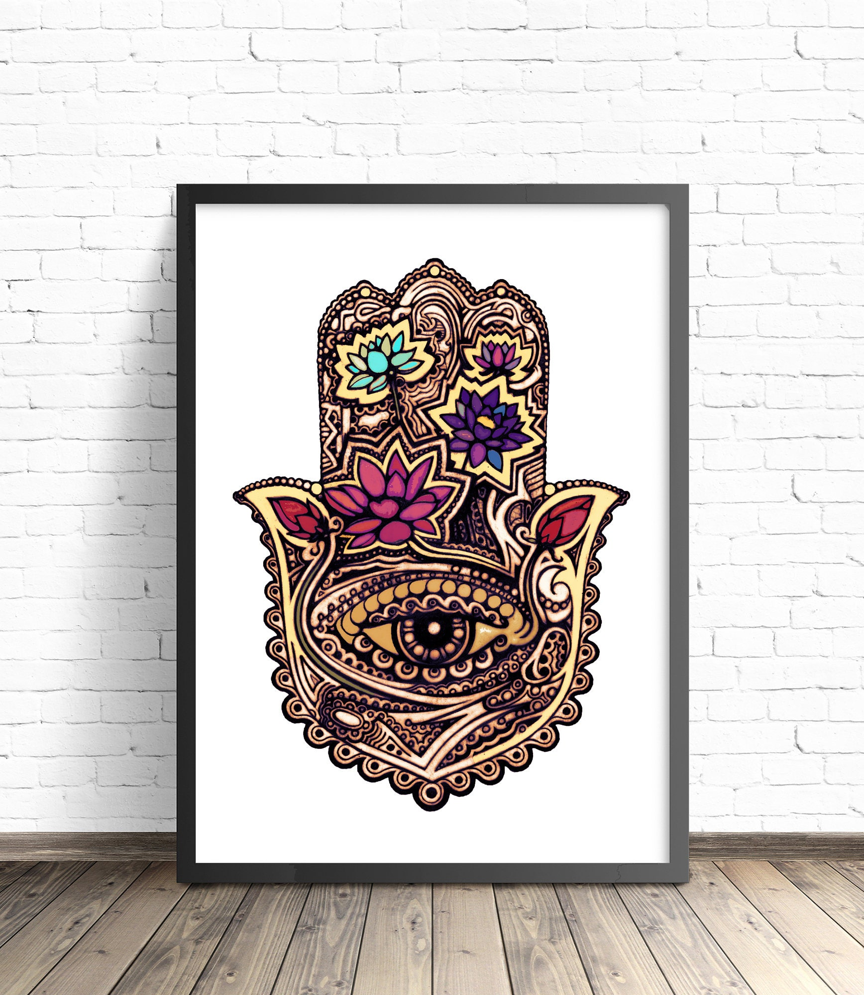 hamsa poster hamsa illustration hamsa home decor lotus