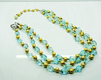 Vintage Light Green Glass Bead and Pearl Triple Strand Necklace