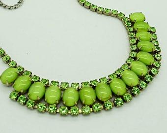 Green Givre Glass and Rhinestone Necklace High Fashion Statement Jewelry