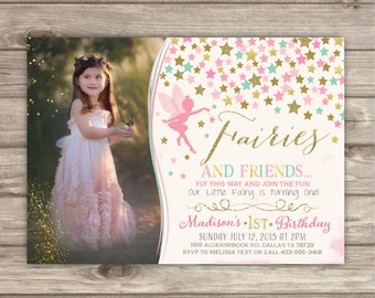 Fairy Birthday Birthday Invitations Photo Shabby Chic Pink Picture Gold Picture Glitter Theme Party girl First Birthday pdf NV2402