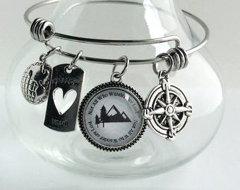 Not all who wander are lost bangle bracelet in stainless steel