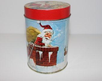 Christmas Nostalgic Vintage Tin of Santa Claus and His Reindeer - Made in Hong Kong