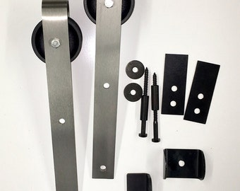 Bypass Sliding Barn Door Hardware Kit with Track System for 2
