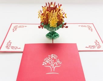 Flower Bouquet, 3-D Pop-Up Card, Hand-crafted, Chinese paper-cut, Renewal Cards