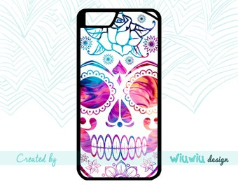White Sugar skull Flower power kitch skull nice girl Halloween phone case for iPhone 4 4s 5 5s 5c 6 6+ 6s 6s+ 7 7+ phone cover for iPhone