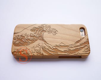 Wood iPhone 7 case, iPhone 7 Plus case, Wood iPhone 6 case, iPhone 6s plus case, Carved Wood phone case, The Great Wave off Kanagawa, KD-46