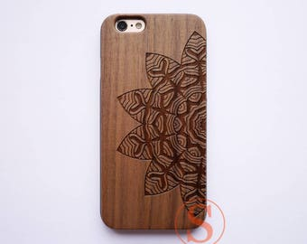 Mandala Wood iPhone 7 case, Wood iPhone 6 case, Wood iPhone 6s plus case, iPhone 7 plus case, Laser Engraved, Natural Wood phone Case, KC-21