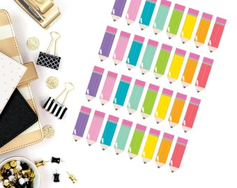 Colorful Pencil Stickers! Perfect for your Erin Condren Life Planner, calendar, Paper Plum, Filofax!