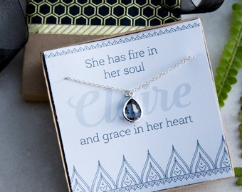 Inspirational Silver Necklace, Fire in Her Soul, Graduation Necklace, Strength Crystal Necklace, Motivation Gift, Gift for Her, Keepsake