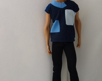 Free shipping! Ken doll clothes - suit, stretch clothes, no velcro.
