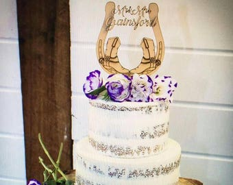 Cowboy boots horse shoe country style happy birthday laser cut cake topper.