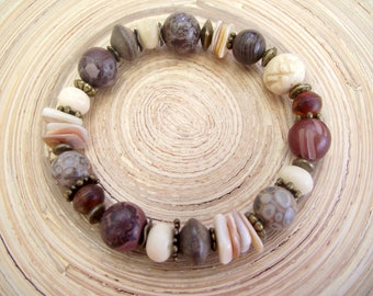Bracelet mussels natural stone natural Brown coral Horn beads