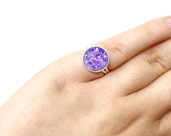Statement ring - faux druxy ring - adjustable ring - lilac ring