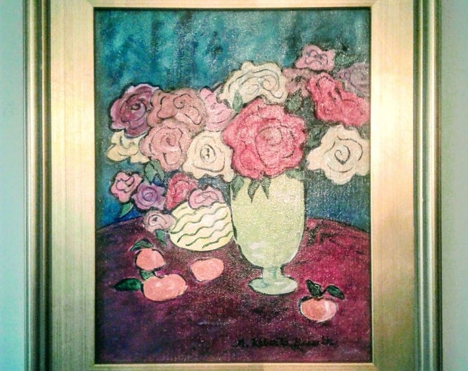 "Free Ship: ""A Vase of Flowers for Matisee"" -  Framed Original Offered by Artist of Liberto's Gallery"