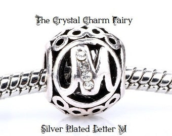 European LETTER M Charm Silver Plated INITIAL with Crystals / Charm Bead Fits Large Hole / Pandora / European / Bracelets / Necklace