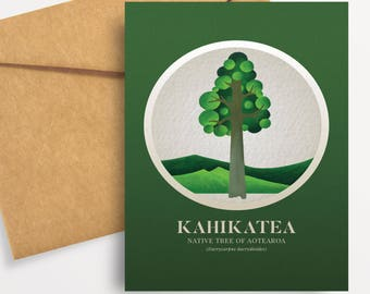Kahikatea illustration in gouache. A6 greeting card with envelope – Native Trees of Aotearoa series.