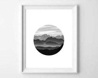Mountain Prints, Mountain Photo, Circle Prints, Geometric Prints, Nature Print, Minimalist Photo, Black and White Photo, Monochrome Art