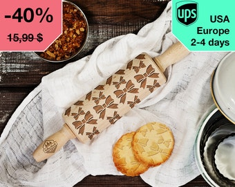 Bows - MINI laser engraved rolling pin