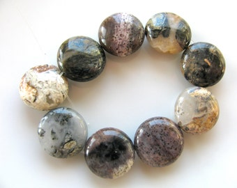 Jasper beads, Silver Leaf Jasper, coin beads, 9 beads, 5x12mm, Jewelry supply B-934
