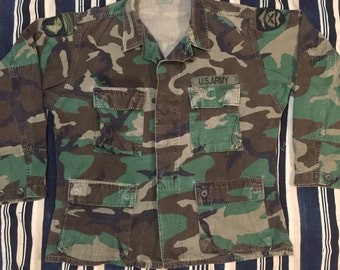 1991 Special Forces Woodland Camp Fatigue Jacket Mens Soze Medium
