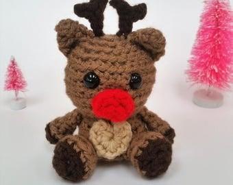 Crochet Reindeer Rudolph Amigurumi Stuffed Animal Toy