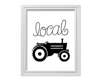 Tractor Wall Art, Kitchen Art, Local Farm Print, Black and White Kitchen Print, Simple Art, Rustic Art, Symbolism Print, Farm Grown Art