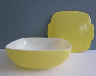 Vintage Pyrex Primary Yellow Square Hostess Dish With Lid