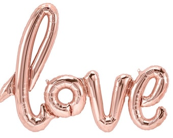 "Rose Gold ""LOVE"" Balloon Script Banner Balloon Rose Gold String included Wedding Bridal Engagement Anniversary Air Fill only"