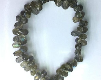 1 Piece of Natural India Genuine Labradorite Tear Drop Briolette Pendant Gemstone Spacer Loose Beads Jewelry Making Supplies Craft