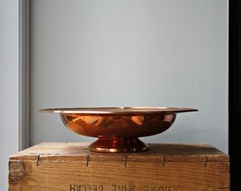 Copper Pedestal Dish, Copper Fruit Bowl, Footed Copper Table Centrepiece With Aged Patina