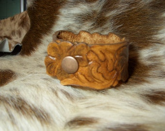 Custom Tooled Leather Clover Cuff