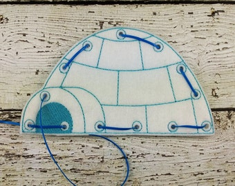 Igloo Lacing Card, Quiet Game, Toddler Toy, Travel Toy, Party Favor