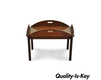 Vintage Solid Mahogany Chippendale Style Butlers Tray Coffee Accent Table  17449