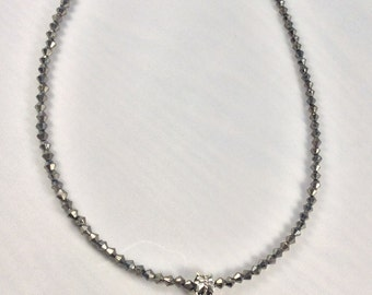 Crystal necklace, Spider Necklace, Necklace, Choker, Silver, Black, Arachnid, Halloween, Gothic, Pagan, Witch, Wicca, OOAK