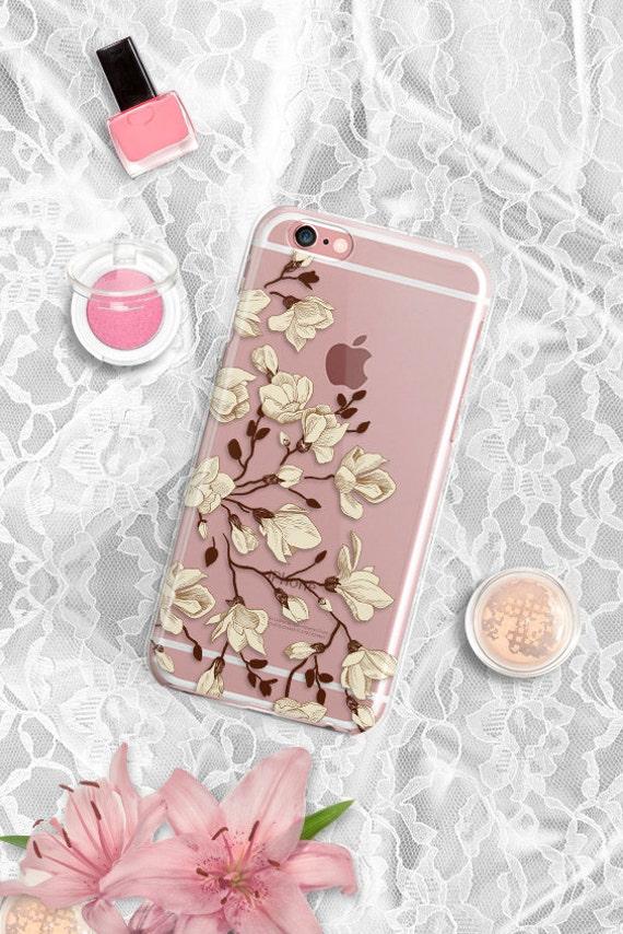 iPhone 7 Floral Clear Rubber Case iPhone 7 Plus Clear Case iPhone 6 Clear Case iPhone 6S Case iPhone SE Case Samsung S7 Edge Case