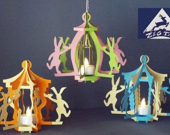 "3D SVG, studio file and PDF   Lantern ""Happy Easter"" a decor for dancing  bunnies."