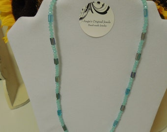 Blue Czech Crystal Necklace 20 inch OOAK Handmade Necklace