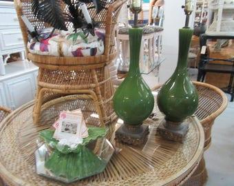 Green Mid Century Glazed Lamps Palm Beach Regency