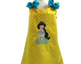 Girl Jasmine birthday dress girl aline Jasmine dress toddler dress girl aline dress toddler name dress girl birthday aline name dress