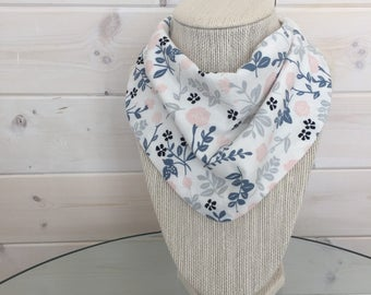 Baby Bib - Drool Bib - Organic Cotton/Bamboo Terry - blue floral